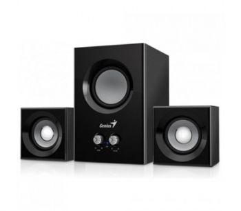 Genius SW-2.1 375, Wood Speakers + Subwoofer, Color: Black, Total output power: 12 watts,  Subwoofer: 6 Watts, Satellites: 3 Watts x 2, Audio input: 3.5mm