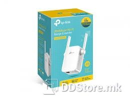 TP-Link Wi-Fi Range Extender 300Mbps Wireless N Wall Plugged, QCOM, 2T2R, 2.4GHz, 802.11b/g/n, 1 10/100M LAN, Ranger Extender button, Range extender mode, 2 fixed antennas