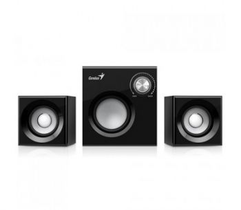 Genius SW-2.1 370, Wood Speakers + Subwoofer, Color: Wood & Black, Total output power: 8 watts,  Subwoofer: 6 Watts, Satellites: 1 Watts x 2, Audio input: 3.5mm
