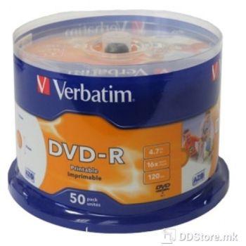 Verbatim DVD-R 16X,4.7GB WIDE INKJET PRINTABLE NO ID 50PK SPINDLE
