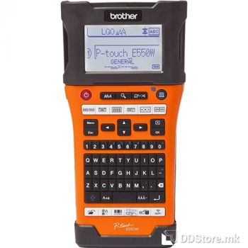Brother PTE550W Handheld, QWERTY, TZe tapes 3,5 to 24 mm, Auto Full&Half, Large Backlit graphic LCD w, High speed with barcode support,