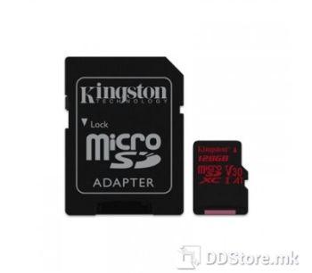 Kingston 128GB microSDXC Canvas React  100R/80W U3 UHS-I V30 A1 Card + SD Adptr, SDCR/128GB