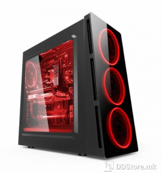 Power Box X906 GAMING ATX Chassis case, red