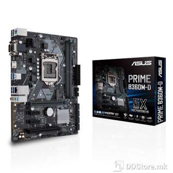 ASUS PRIME B360M-D,  Intel Socket 1151 for 9th / 8th Gen. Intel B360,  2 x DIMM, Max. 32GB, DDR4