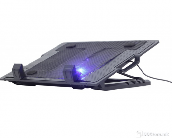 """Gembird up to 17.3""""/1x150mm LED Fan/5 Levels/2xUSB Black Notebook Stand"""