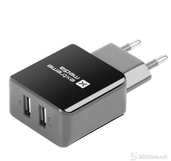 Natec Extreme 5V/2A Dual Socket Black/Grey USB Universal Power Charger