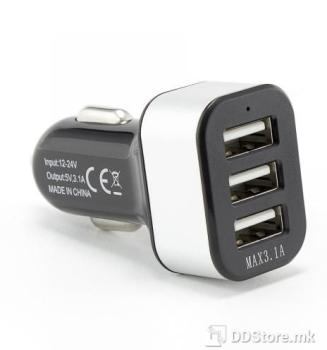 SBOX 3.1A 3xUSB Ports Black USB Universal Car Charger