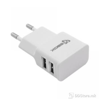 SBOX Dual Socket 2.1A White USB Universal Power Charger