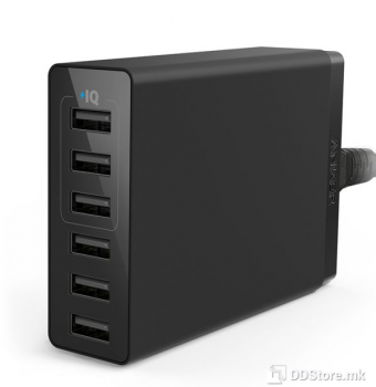 Anker PowerPort 6 Lite 30W 6-Port Black USB Universal Power Charger
