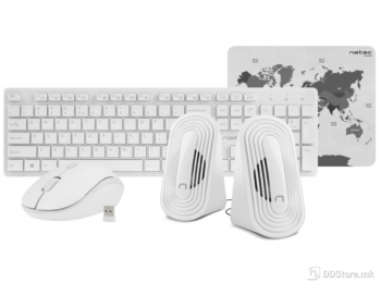 Natec Tetra Wireless White 4IN1 Keyboard+ Mouse+ Speakers+ Mouse Pad