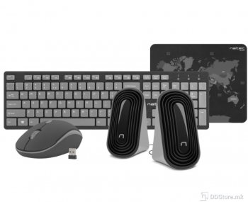 Natec Tetra Wireless Black/Grey 4IN1 Keyboard+ Mouse+ Speakers+ Mouse Pad