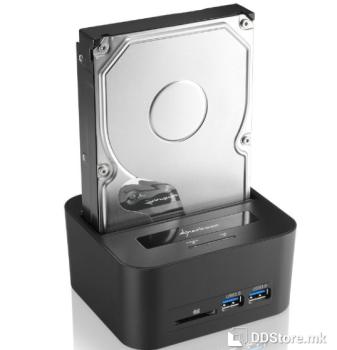 "Sharkoon QuickPort XT HC PRO for 2.5"" and 3.5"" SATA HDD 2xUSB3.0/Card Reader USB 3.0 Docking Station"